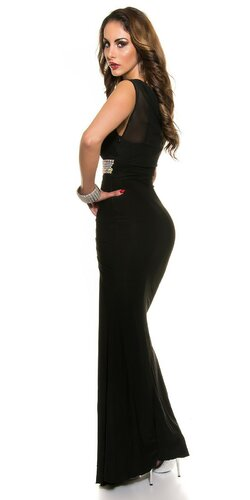 Plesové šaty s kamienkovým pásom Čierna