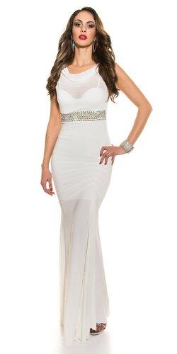 Plesové šaty s kamienkovým pásom | Biela