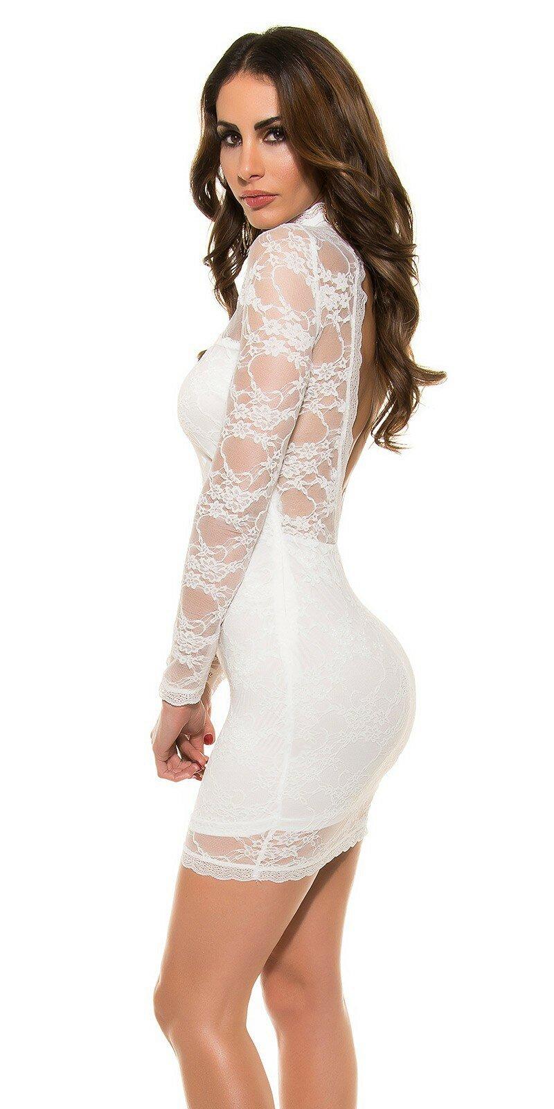 2e6ff03a6b2c Dámske čipkované mini šaty s odhaleným chrbtom  Veľkosť Univerzálna  (XS S M) Farba Krémová