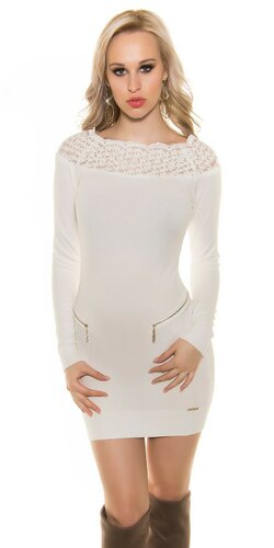 Dámske pletené šaty s kvetovou čipkou | Krémová