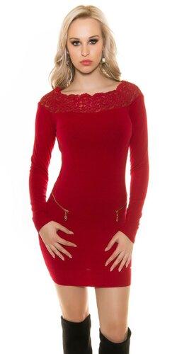 Dámske pletené šaty s kvetovou čipkou | Červená