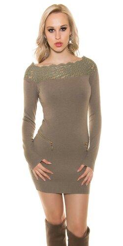 Dámske pletené šaty s kvetovou čipkou | Béžová