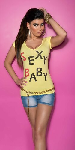 Dámske Tričko ,,Sexy Baby,, Žltá