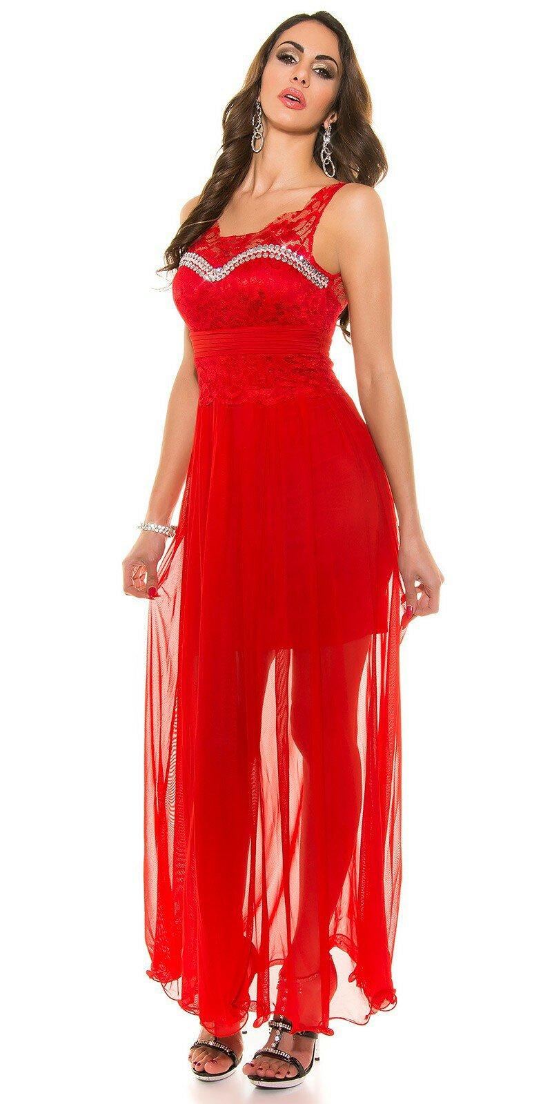 Dámske plesové šaty KouCla #Veľkosť XL Farba Červená