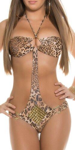 Dámske monokiny so zlatými prvkami | Leopard