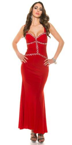 Dámske plesové šaty s kamienkami Červená
