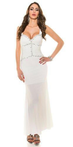 Dámske plesové šaty s kamienkami Biela