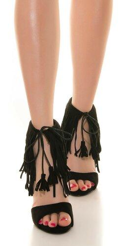 Dámske letné topánky so strapcami | Čierna