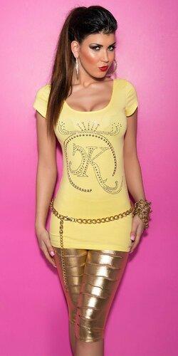 Dámske Tričko s logom KouCla a zipsom na zadnej strane Žltá
