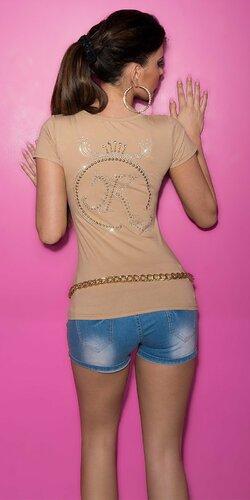 Tričko s KouCla korunkou vzadu Béžová