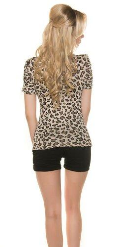 Leopardie tričko s mašľou Béžová