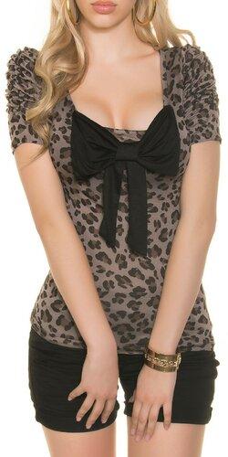 Leopardie tričko s mašľou Cappuccino