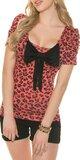 Leopardie tričko s mašľou Koralová