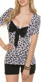 Leopardie tričko s mašľou Biela