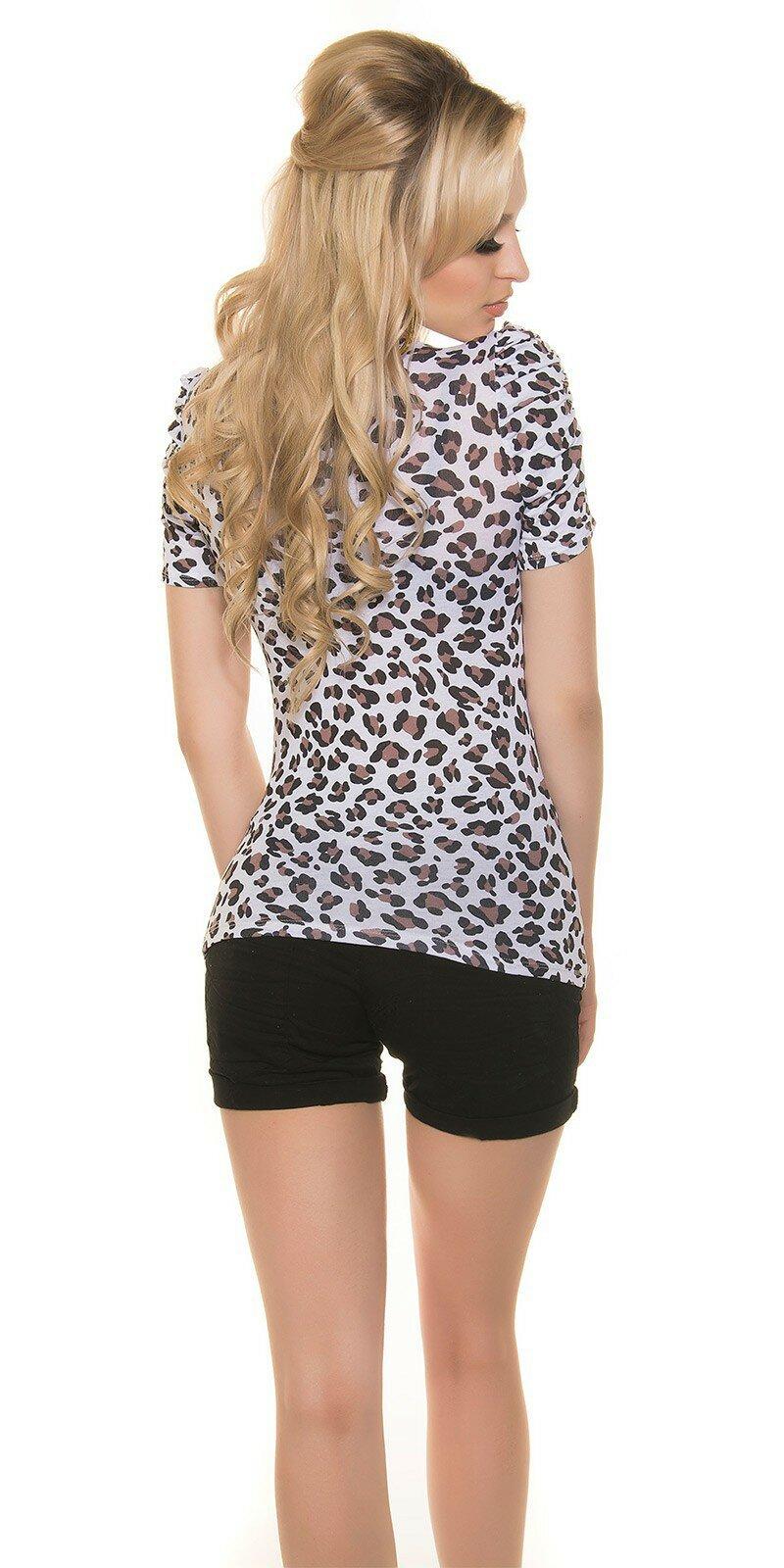 Leopardie tričko s mašľou