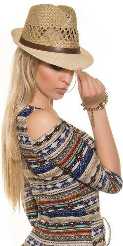 Štýlový dámsky slamený klobúk Béžová