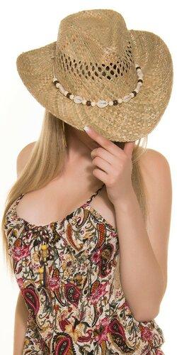 Dámsky slamený klobúk s mušľami | Béžová