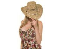 Dámsky slamený klobúk s mušľami