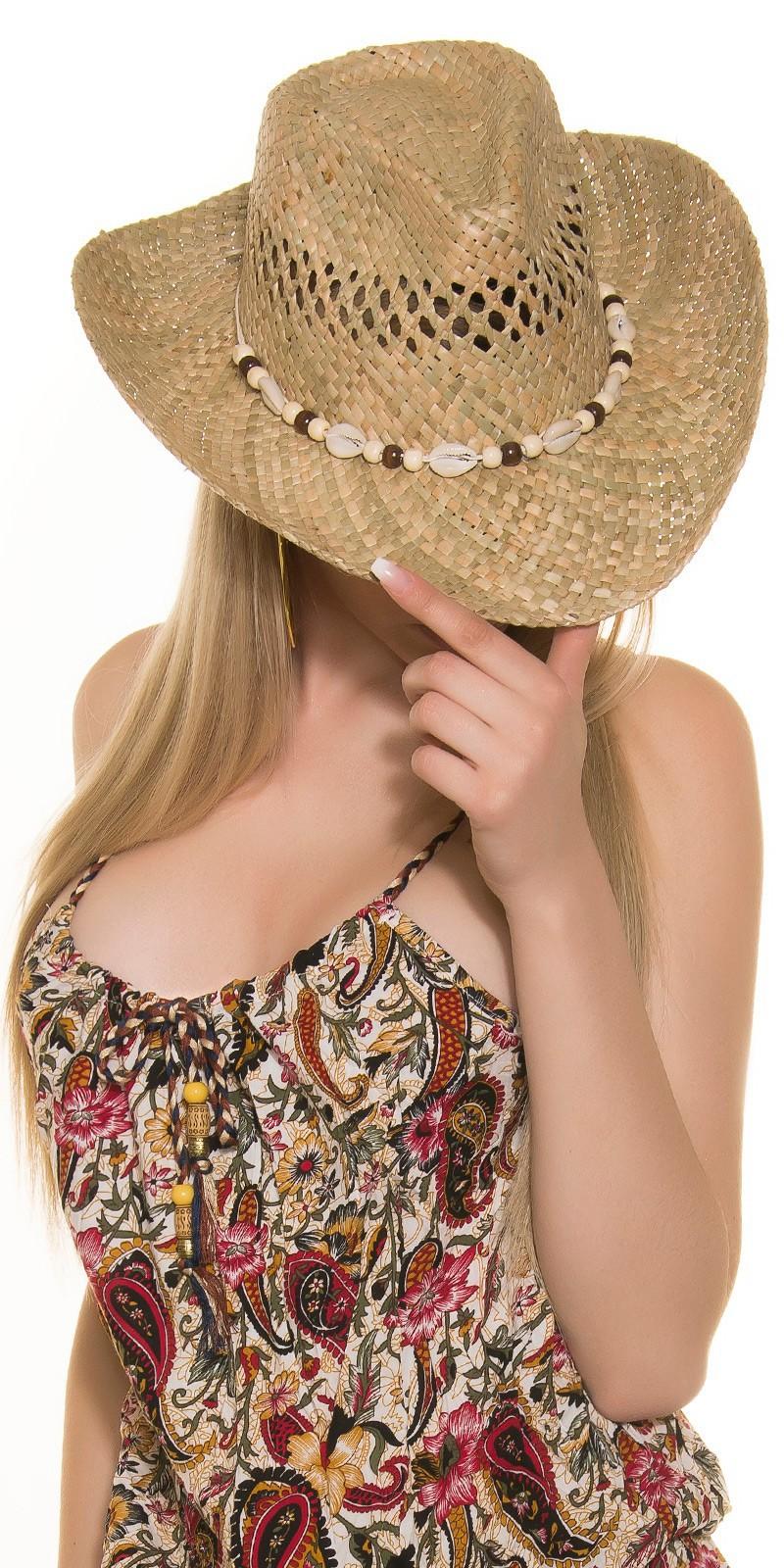 adbe5192f Dámsky slamený klobúk s mušľami - NajlepsiaModa.sk