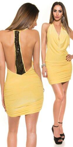 Padavé párty mini šaty s flitrami na chrbte | Žltá