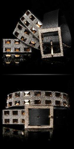 Dámsky opasok s kamienkami | Čierna