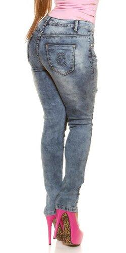 Džínsy zničeného vzhľadu pre moletky Modrá