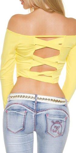 Dámsky KouCla krátky top s dlhými rukávmi | Žltá