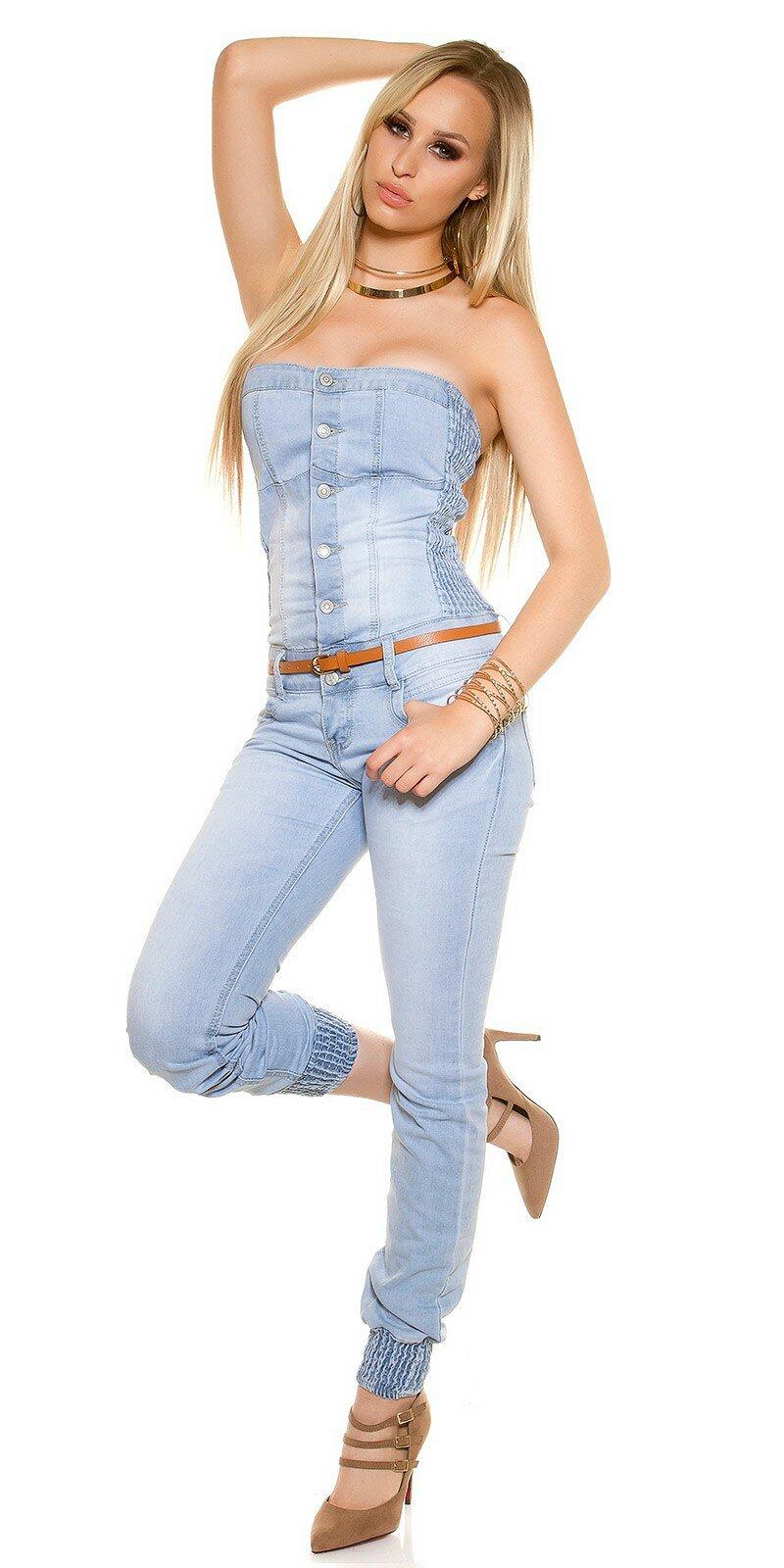 Dámsky svetlý džínsový overal s opaskom