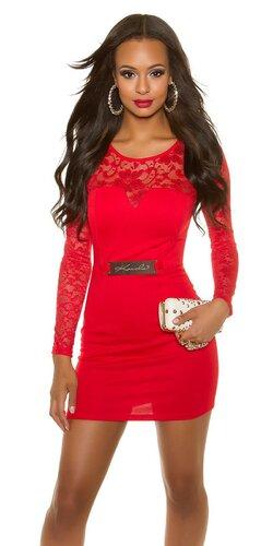 Mini šaty s dlhými rukávmi KouCla | Červená