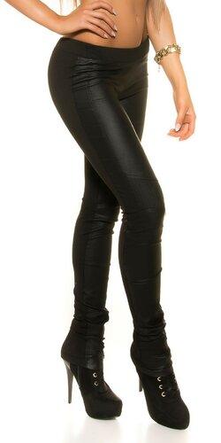 Dámske nohavice s koženkou na prednej strane Čierna