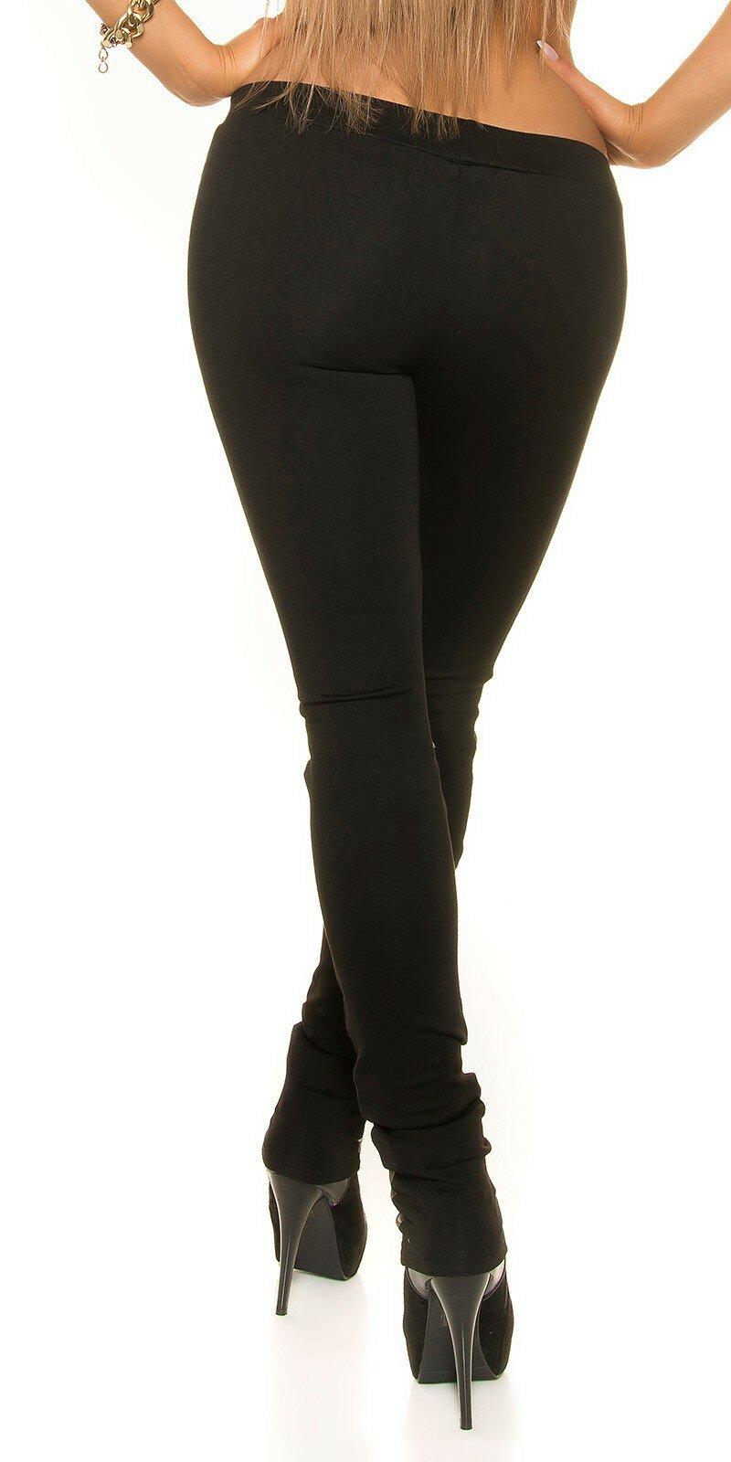 Dámske nohavice s koženkou na prednej strane