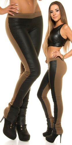 Dámske nohavice s koženkou na prednej strane | Cappuccino