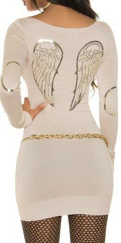 Pletené dámske mini šaty s anjelskými krídlami