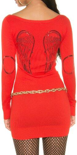 Pletené dámske mini šaty s anjelskými krídlami | Oranžová