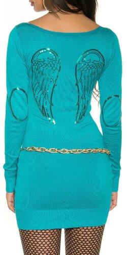 Pletené dámske mini šaty s anjelskými krídlami | Tyrkysová