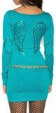Pletené dámske mini šaty s anjelskými krídlami Tyrkysová