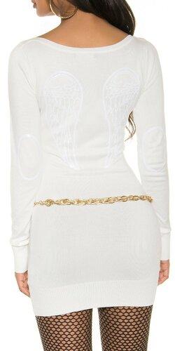 Pletené dámske mini šaty s anjelskými krídlami | Biela
