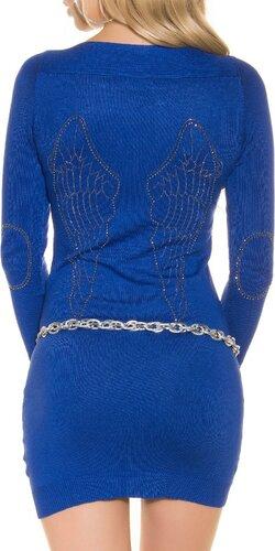 Dámske pletené mini šaty s kamienkami na lakťoch | Tmavomodrá