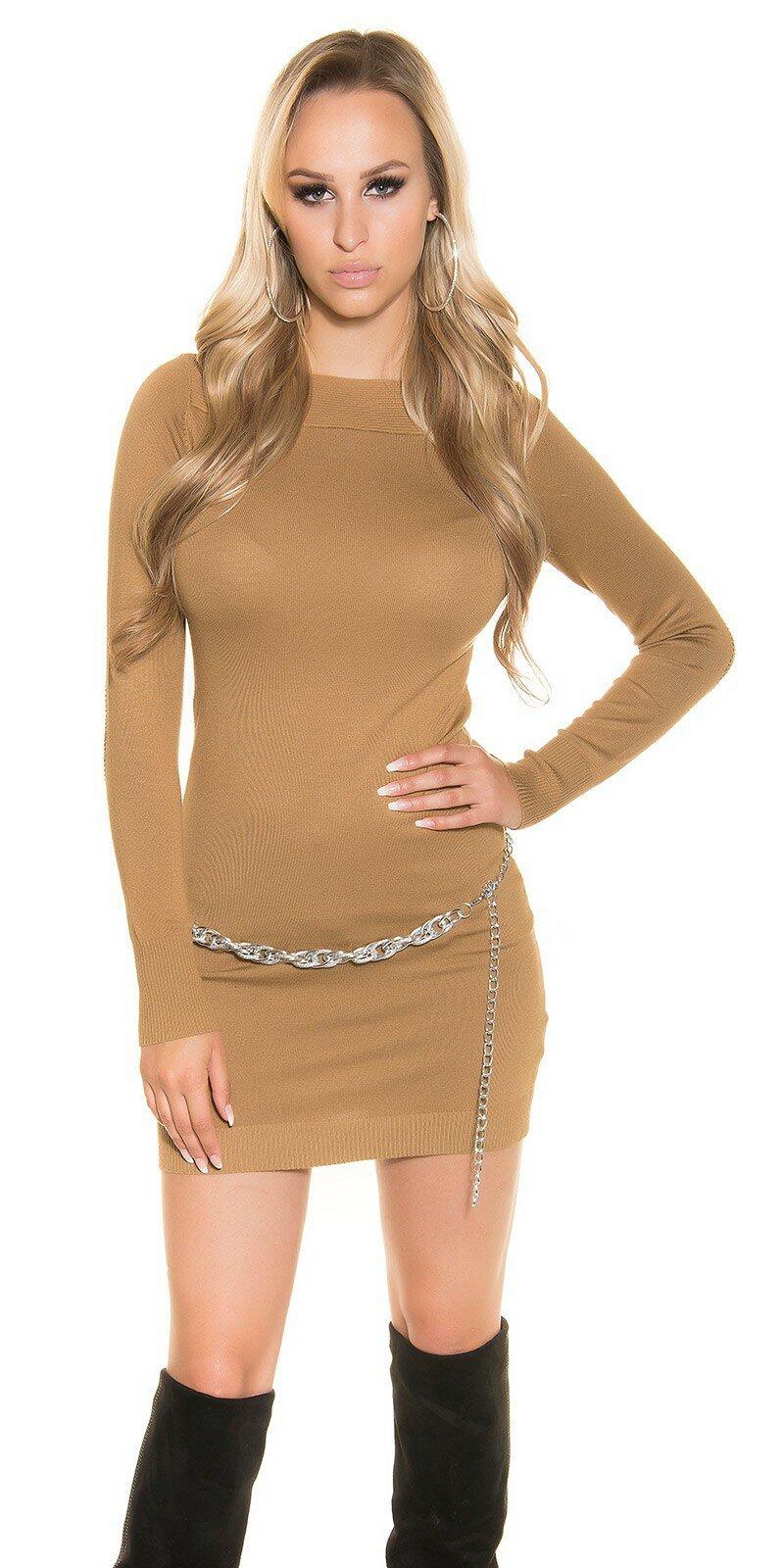 Dámske pletené mini šaty s kamienkami na lakťoch