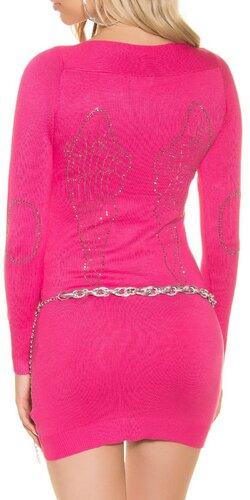 Dámske pletené mini šaty s kamienkami na lakťoch | Ružová