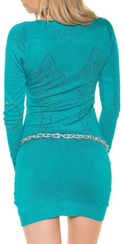 Dámske pletené mini šaty s kamienkami na lakťoch | Zafírová