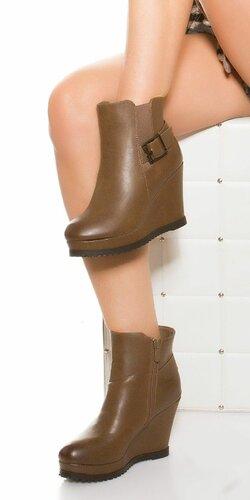 Štýlové dámske topánky na platforme | Hnedá