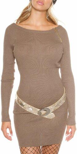 Dámske vrúbkované úpletové šaty