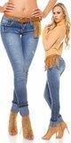 KouCla dámske skinny rifle so štýlovým opaskom Modrá