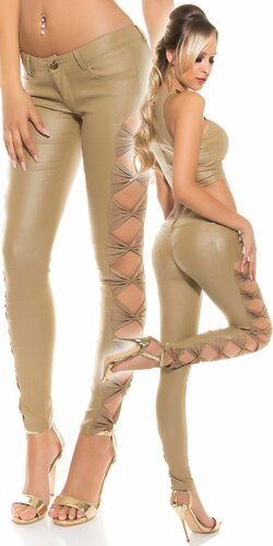 KouCla nohavice koženého vzhľadu | Béžová