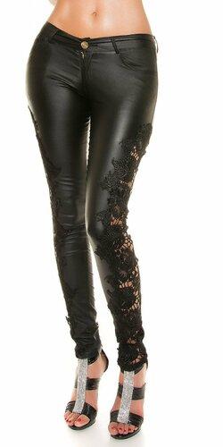 Dámske nohavice koženého vzhľadu s čipkou