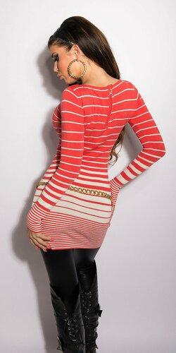 Farebný dámsky pruhovaný sveter KouCla Koralová