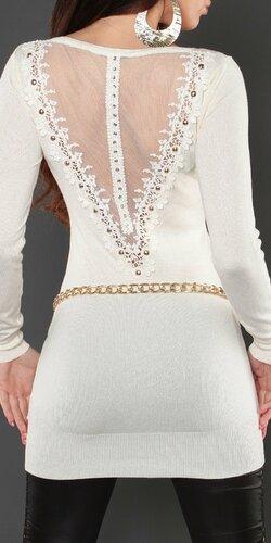 KouCla štýlový jednofarebný sveter dámsky Biela