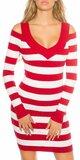 Dámske pruhované pletené mini šaty s odhalenými ramenami Červená