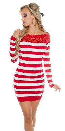 Sexy dámske pruhované pletené mini šaty s čipkou